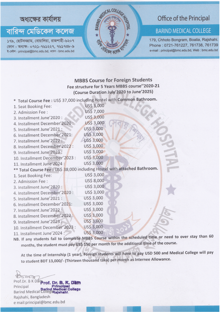 Barind Medical College Fees 2020