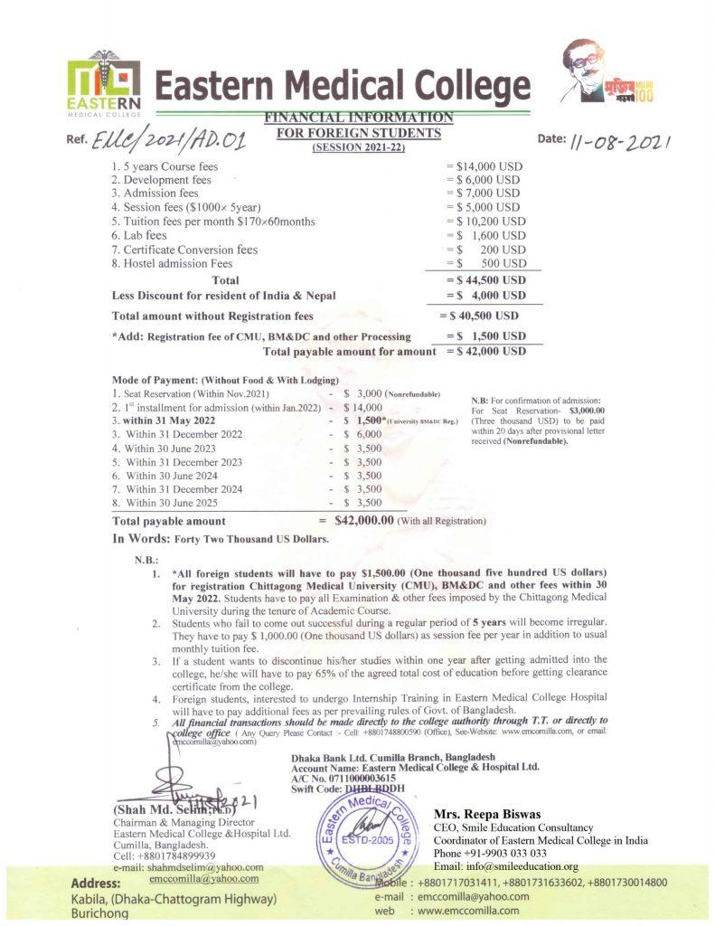 Eastern Medical College Fees